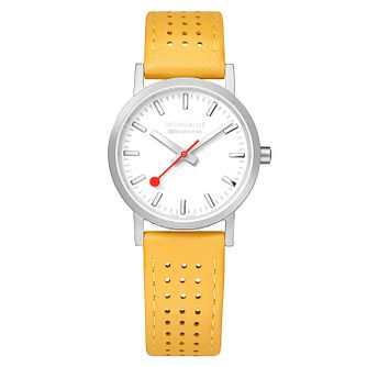 Mondaine Yellow Leather SBB Classc Strap Watch - Product number 9746552