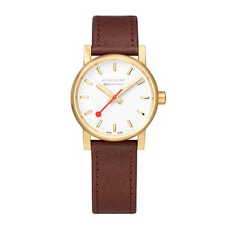 Mondaine SBB evo2 Ladies' Brown Leather Strap Watch - Product number 9746595