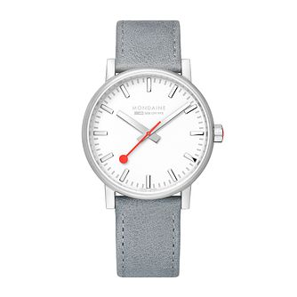 Mondaine SBB evo2 Ladies' Grey Leather Strap Watch - Product number 9746692