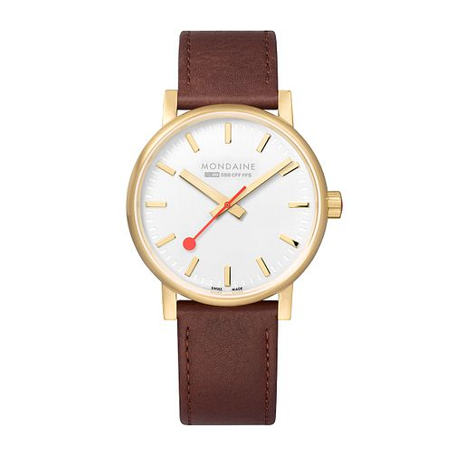 Mondaine SBB evo2 Ladies' Brown Leather Strap Watch - Product number 9746706