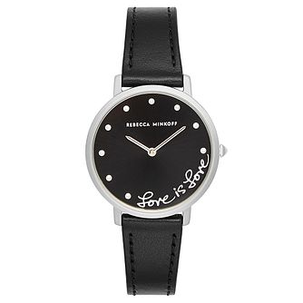 Rebecca Minkoff Major Ladies' Black Leather Strap Watch - Product number 9746730