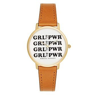 Rebecca Minkoff Major Yellow Gold Plated Grlpwr Strap Watch - Product number 9746749