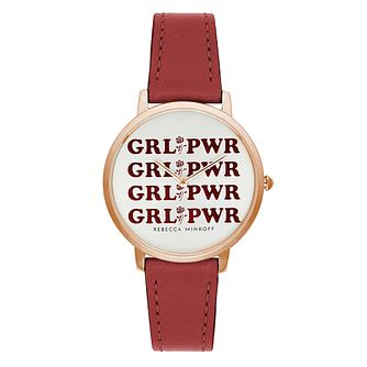 Rebecca Minkoff Major GRLPWR Ladies' Red Strap Watch - Product number 9746757