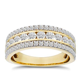 569bd289a310b 18ct Yellow Gold 1ct Diamond Three Row Eternity Ring