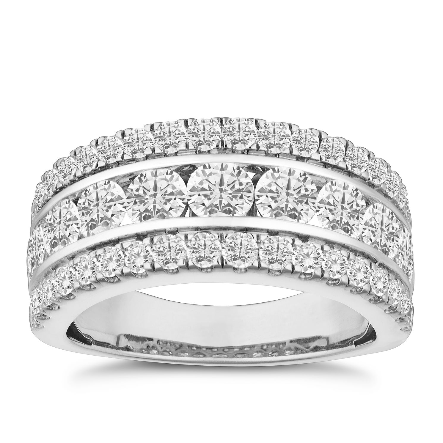 18ct White Gold 2ct Diamond Three Row Eternity Ring - Product number 9747117