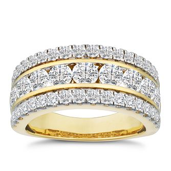 18ct Yellow Gold 2ct Diamond Three Row Eternity Ring - Product number 9747273