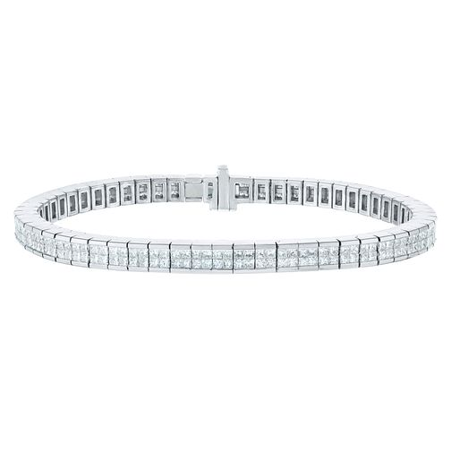 9ct White Gold Five Carat Princess Cut Diamond Bracelet - Product number 9749829