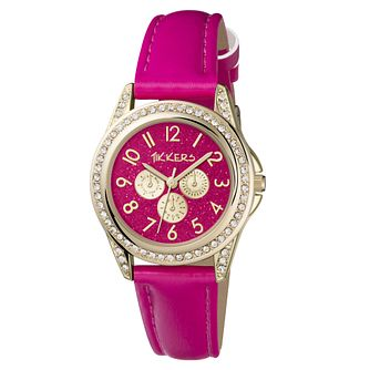 Tikkers Gold Stone Set Case Pink PU Strap Watch - Product number 9751769