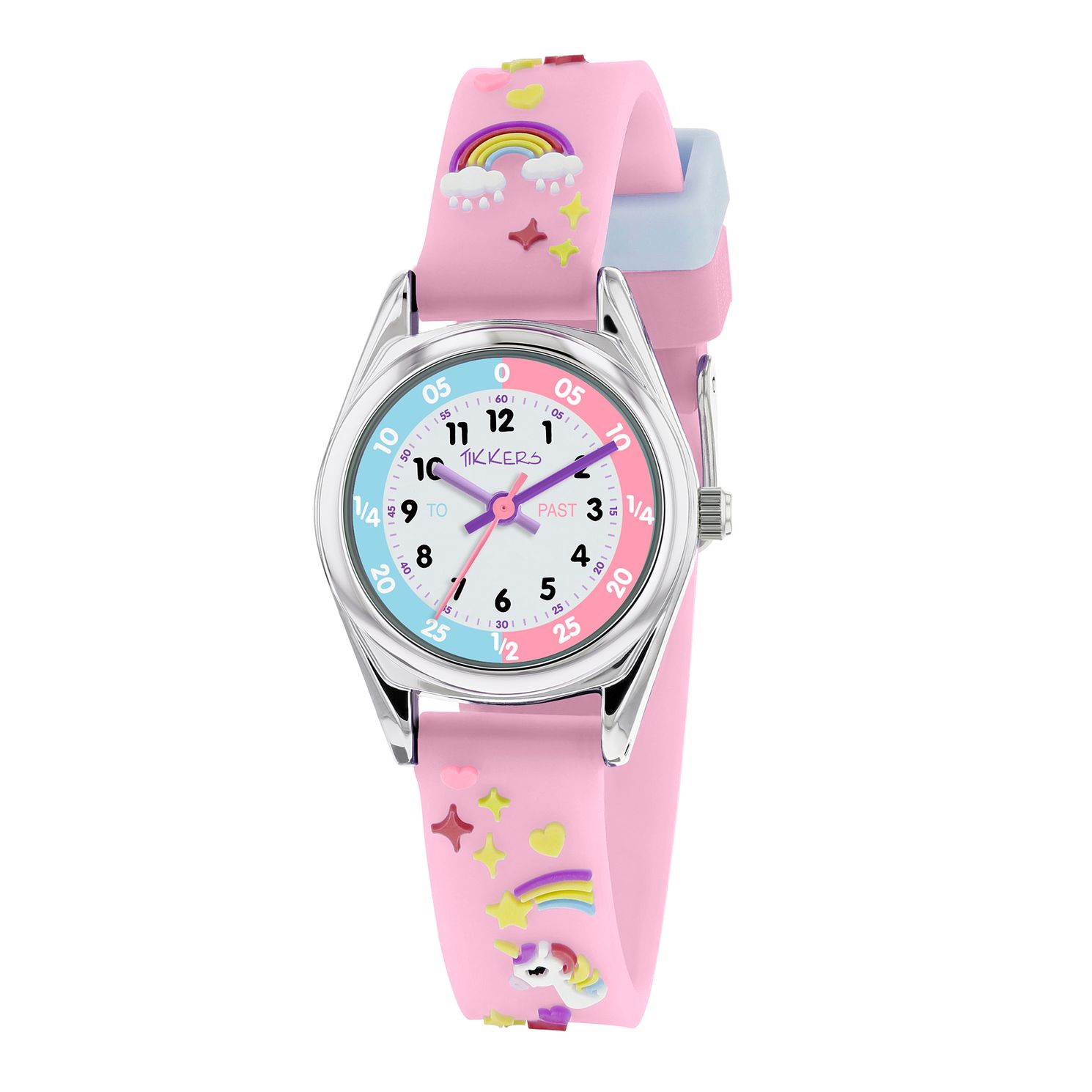 Tikkers Purple Unicorn Silicone Strap Time Teacher Watch - Product number 9751890