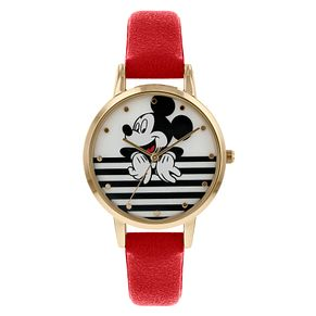 Mickey Mouse Gold Case Red Strap Watch - Product number 9752064