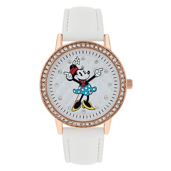 Minnie Mouse Gold Case White Strap Watch - Product number 9752072