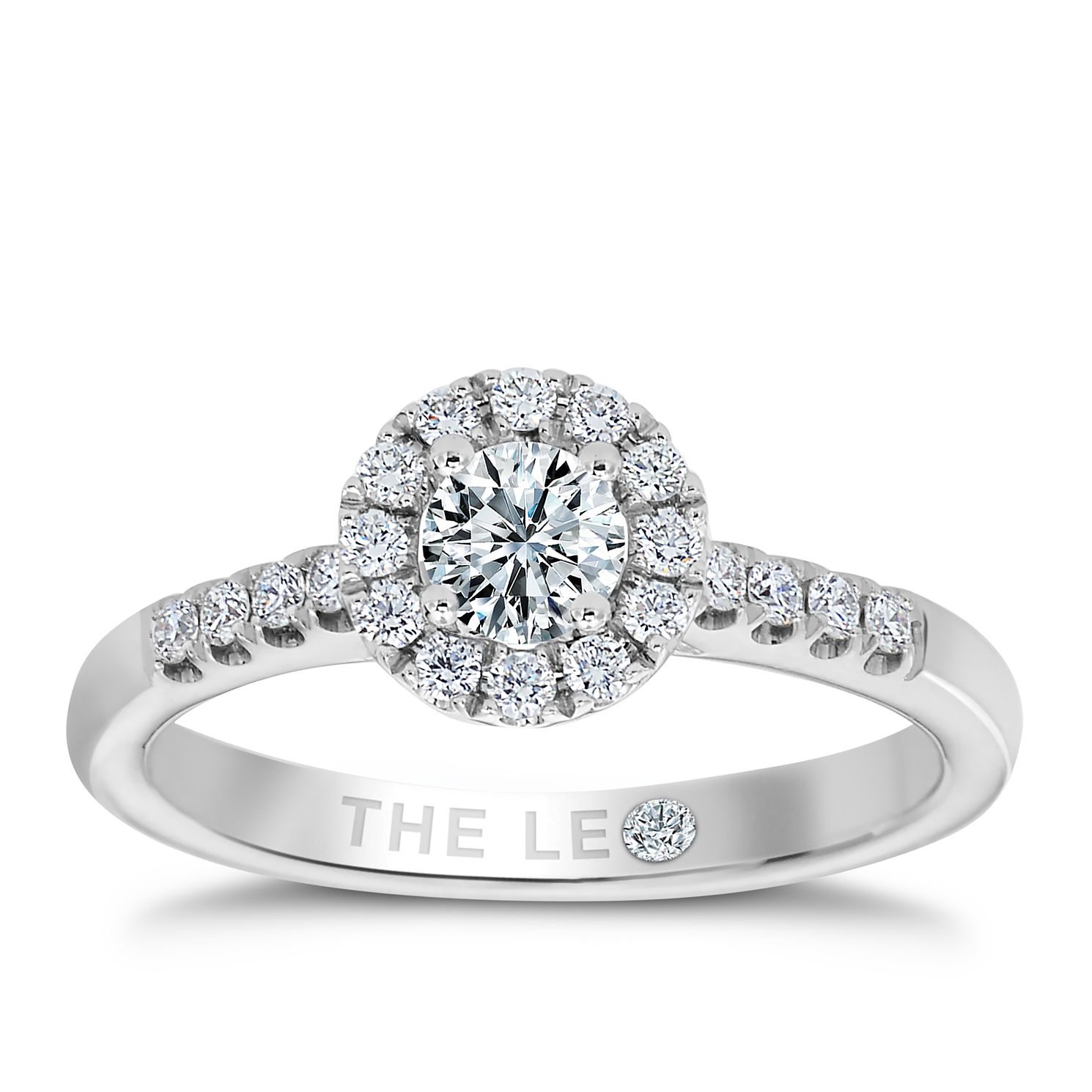 Leo Diamond 18ct White Gold 0.50ct Total Diamond Halo Ring - Product number 9755888