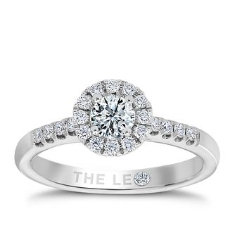 Leo Diamond 18ct white gold 1/2ct I-I1 round halo ring - Product number 9755888