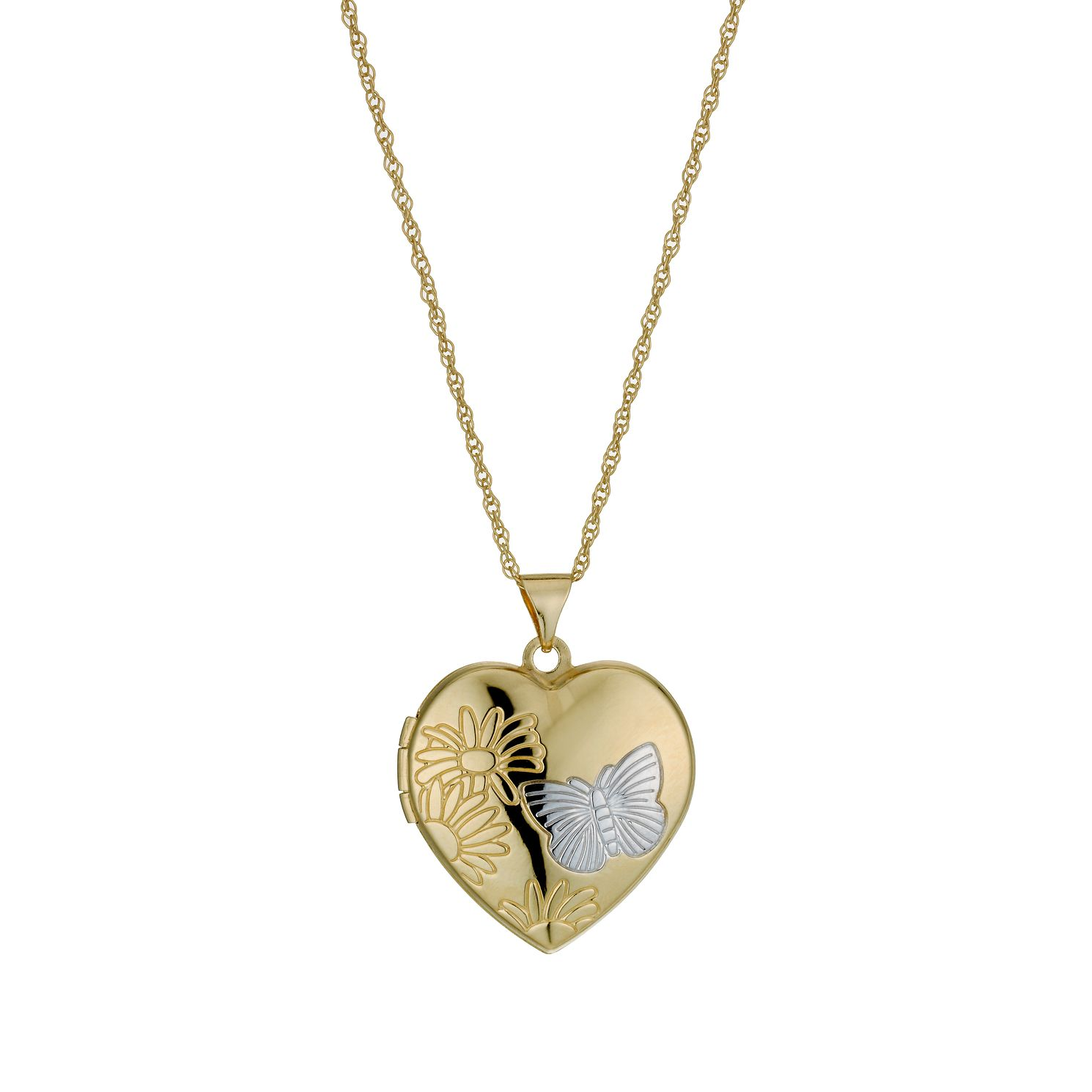 Together Silver & 9ct Bonded Gold Diamond Cut Heart Locket - Product number 9757392