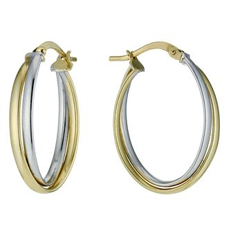 Together Silver & 9ct Bonded Gold Double Oval Hoop Earrings - Product number 9760210