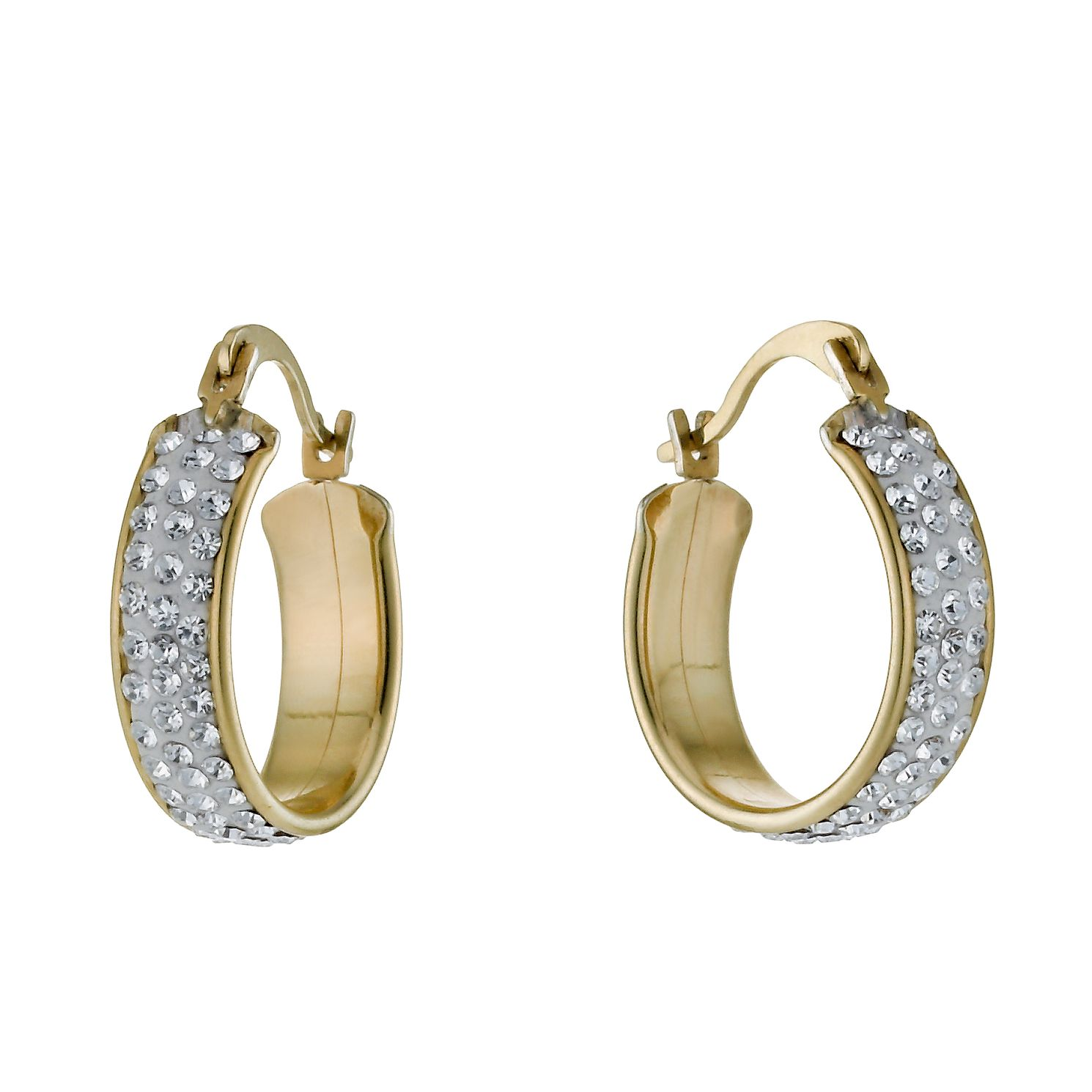 Together Silver & 9ct Bonded Gold Crystal 15mm Hoop Earrings - Product number 9760318