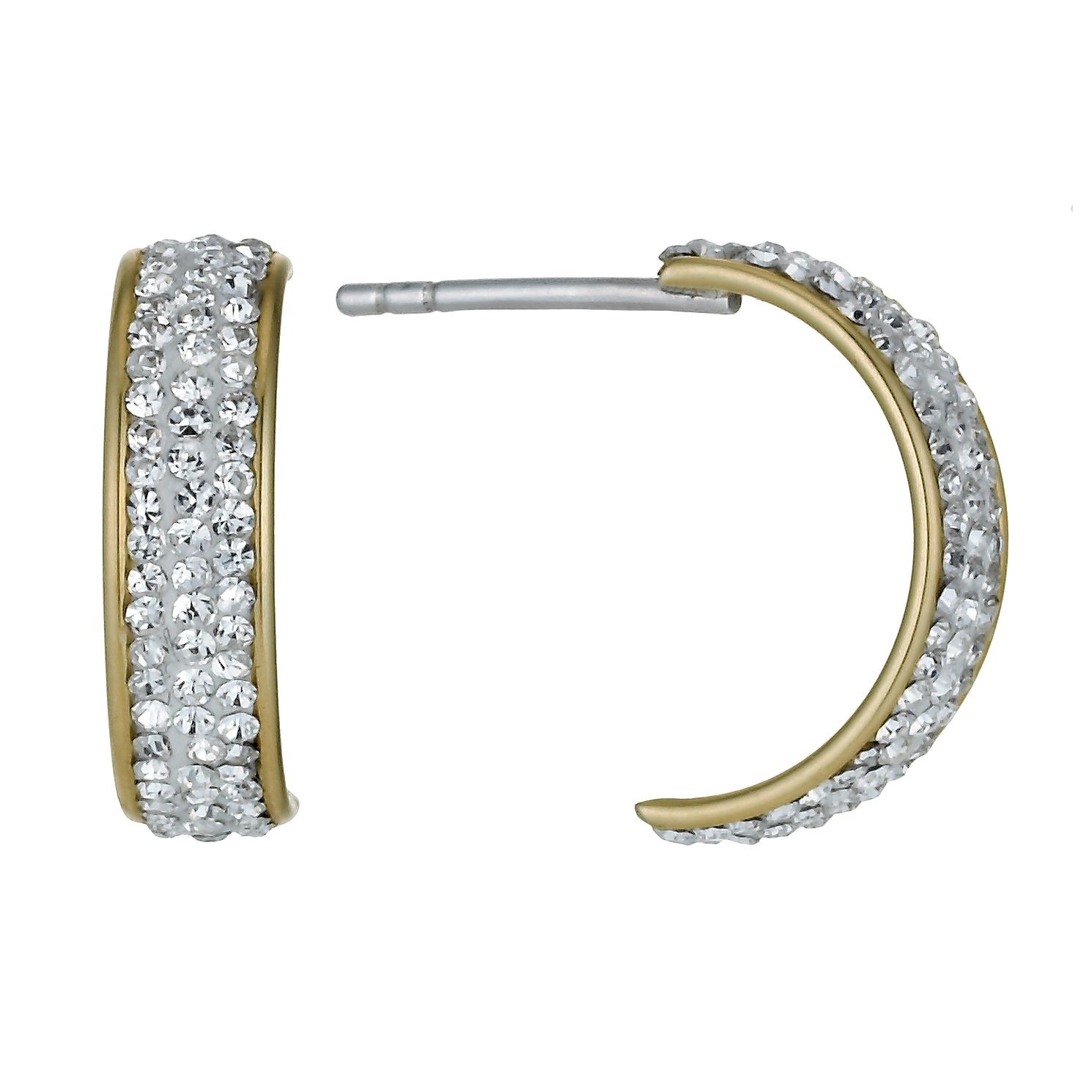 Together Silver & 9ct Bonded Gold Crystal Half Hoop Earrings - Product number 9760539