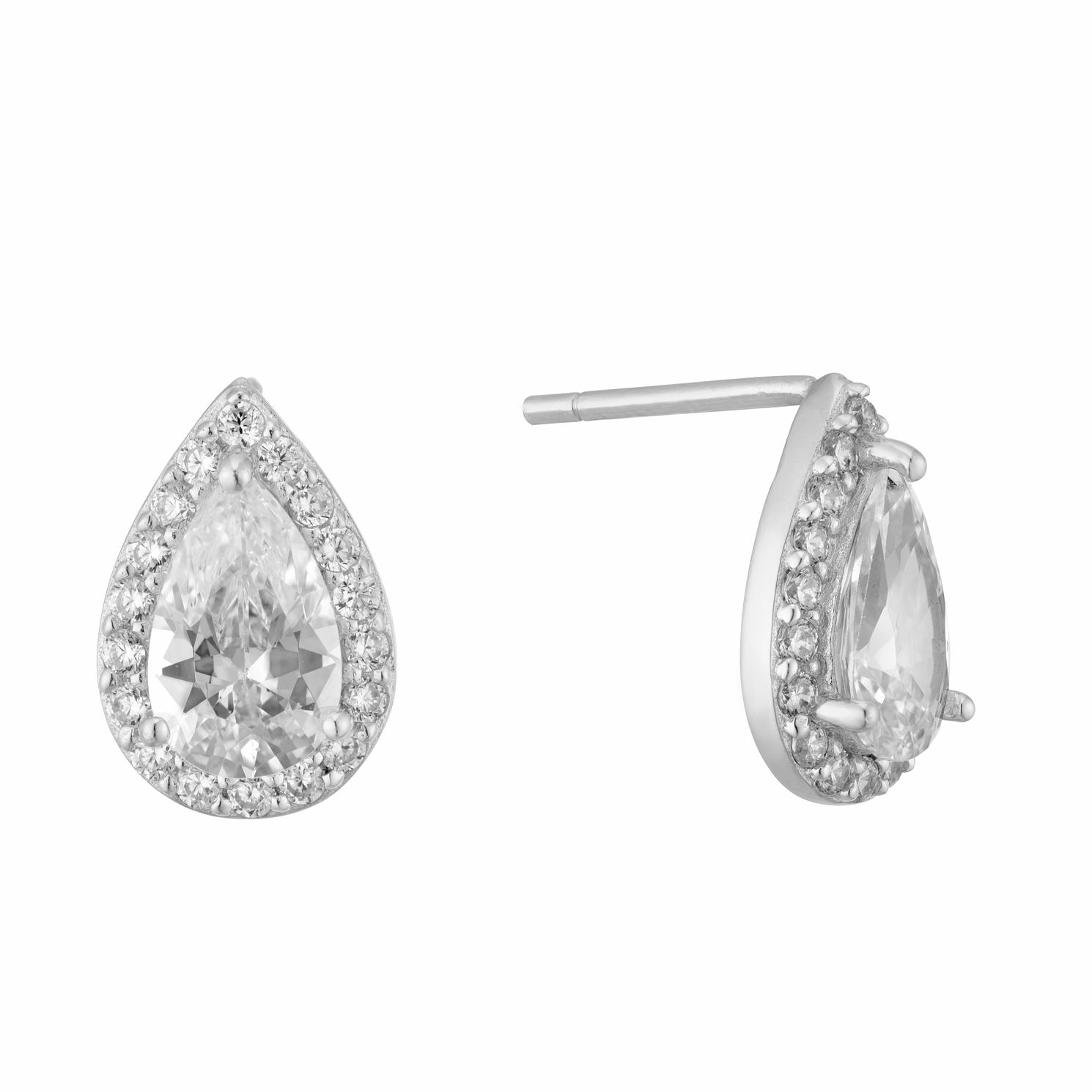 Silver & Cubic Zirconia Pearl Halo Stud Earrings - Product number 9773339
