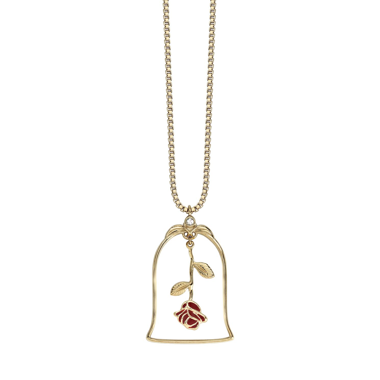 Ever After Disney Gold Plated Belle Enchanted Rose Pendant - Product number 9773754