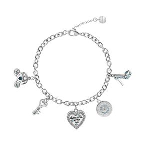 Ever After Disney Rhodium Plated Cinderella Charm Bracelet - Product number 9773843