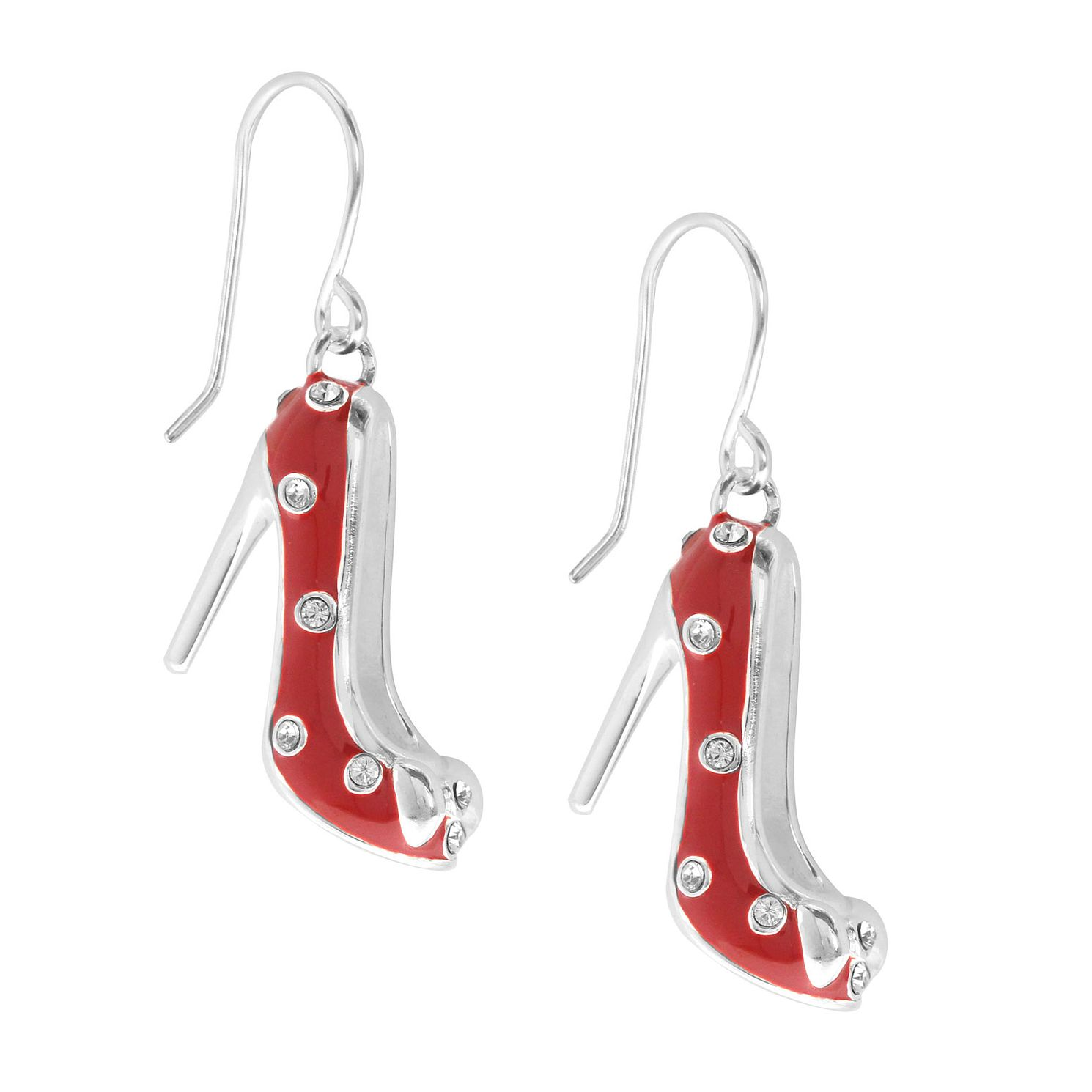 Ever After Disney Rhodium Plated Minnie Shoe Drop Earrings - Product number 9773983