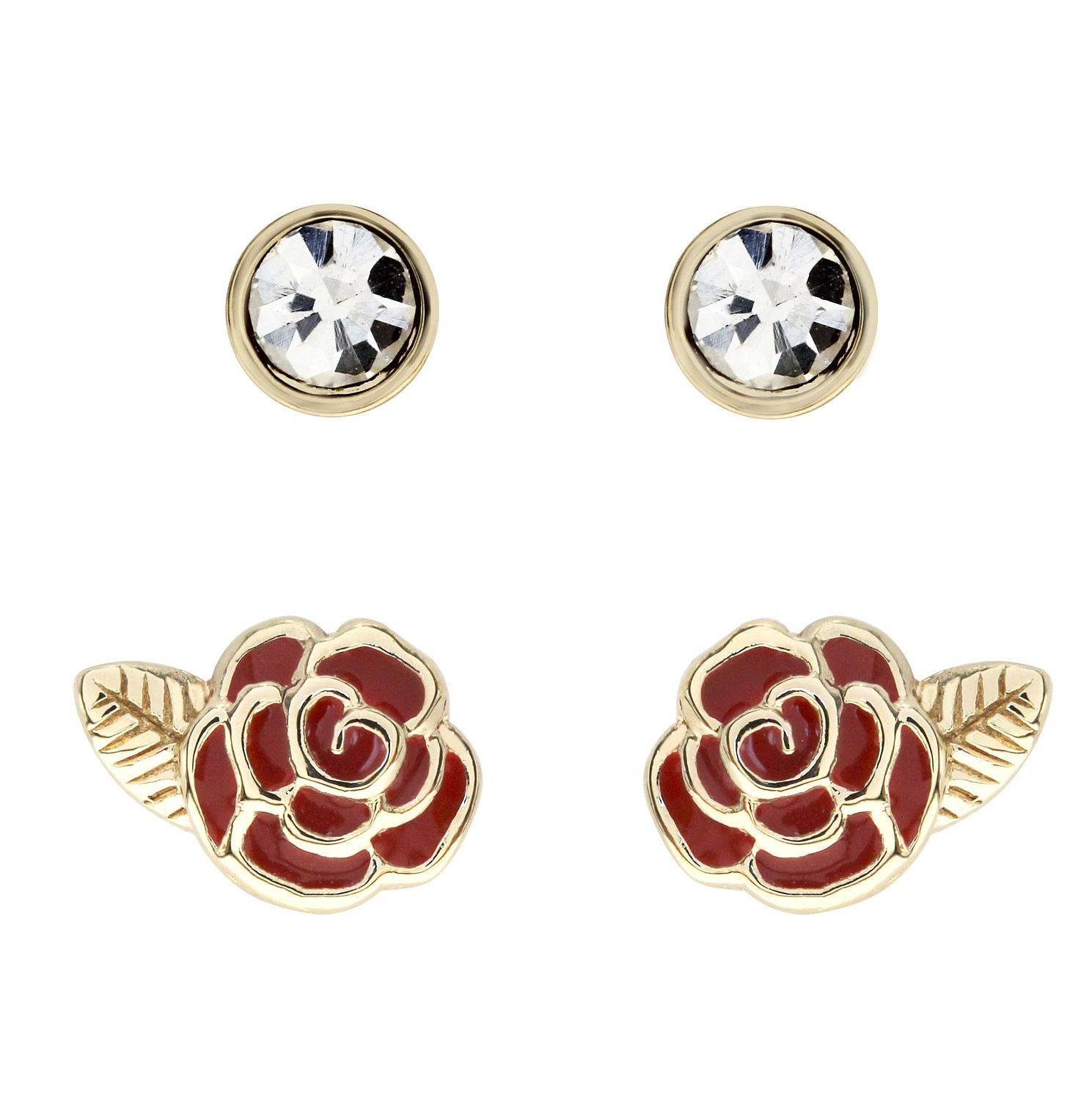 Ever After Disney Gold Plated Belle Rose Earring Set - Product number 9774076