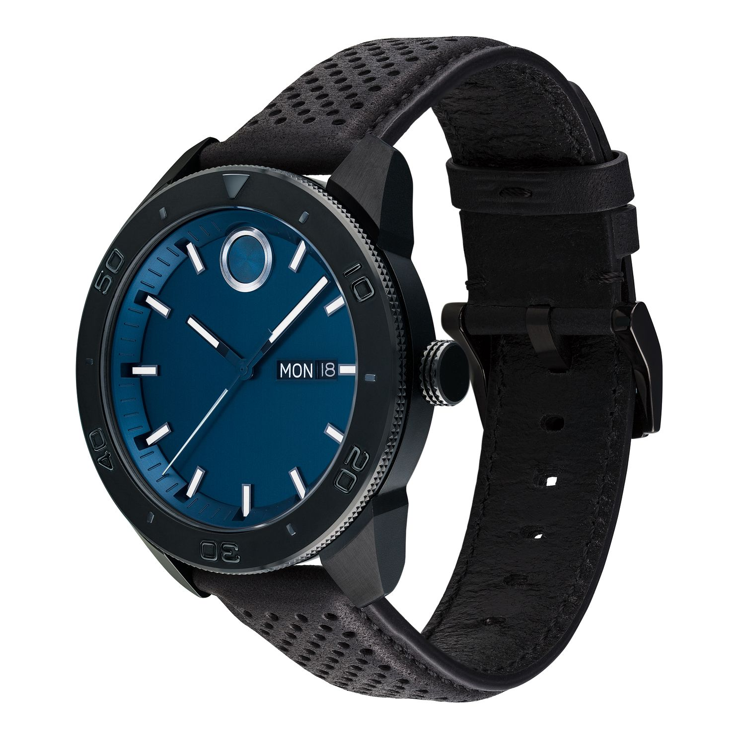 Movado Bold Men's Sport Black Leather Strap Watch - Product number 9774270