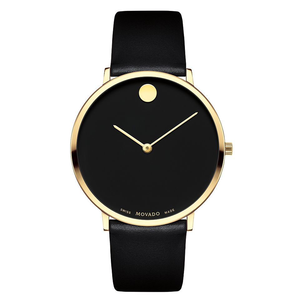 Movado Museum Men's Yellow Gold Plated Black Strap Watch - Product number 9774319