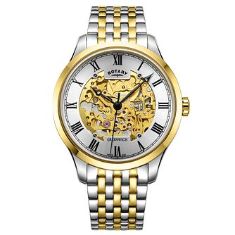 Rotary Greenwich Men's Two-Tone Skeleton Bracelet Watch - Product number 9774556