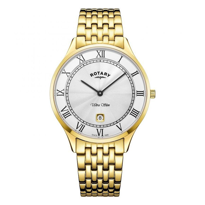 Rotary Ultra Slim Men's Gold Plated Bracelet Watch - Product number 9774572