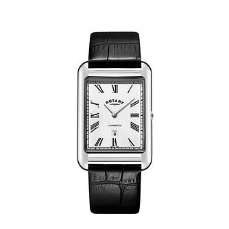 Rotary Cambridge Men's Rectangular Black Strap Watch - Product number 9774610