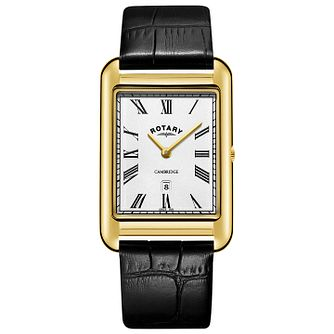 Rotary Cambridge Men's Rectangular Black Strap Watch - Product number 9774629