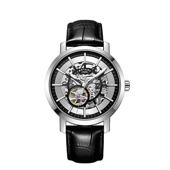 Rotary Greenwich Men's Skeleton Black Leather Strap Watch - Product number 9774637
