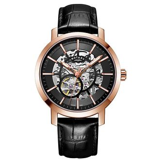 Rotary Greenwich Men's Skeleton Black Leather Strap Watch - Product number 9774645