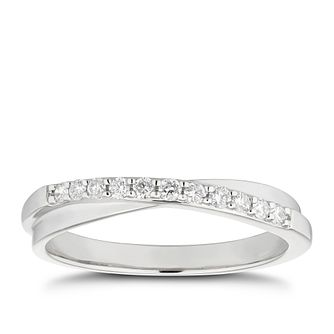 Platinum 0.15ct Diamond Set Crossover Wedding Ring - Product number 9775110