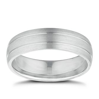 Men's Sterling Silver Polished Ridge Edge 6mm Wedding Ring - Product number 9779558