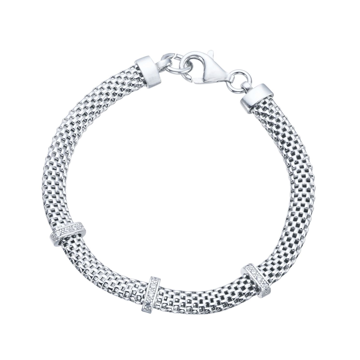 Silver Rhodium Plated Cubic Zirconia Bar Bracelet - Product number 9779949
