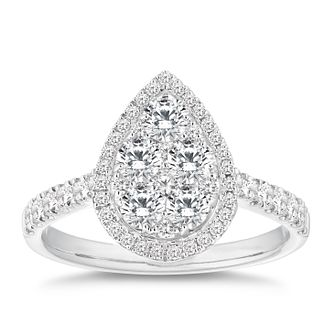 18ct White Gold 1ct Pear Cluster Diamond Ring - Product number 9780335