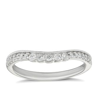 Platinum 1/5ct Diamond Set Shaped Wedding Ring - Product number 9781005