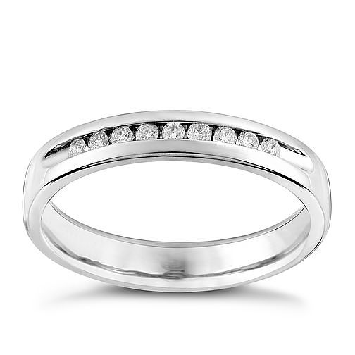 9ct White Gold 0.10ct Diamond Wedding Ring - Product number 9782125