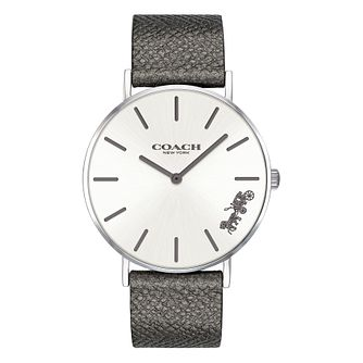 Coach Perry Ladies' Metallic Grey Leather Strap Watch - Product number 9783741