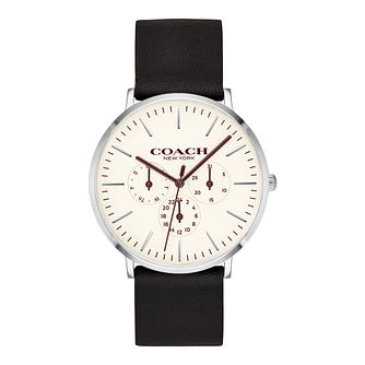 Coach Varick Men's Black Leather Strap Watch - Product number 9783784