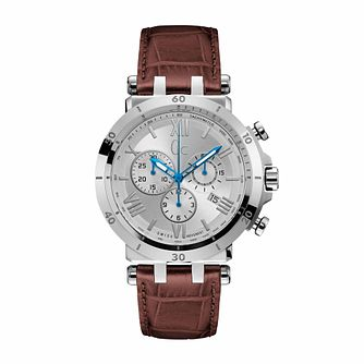 Gc Insider Men's Chronograph Brown Leather Strap Watch - Product number 9783814
