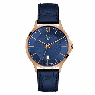 Gc Executive Men's Blue Leather Strap Watch - Product number 9783830