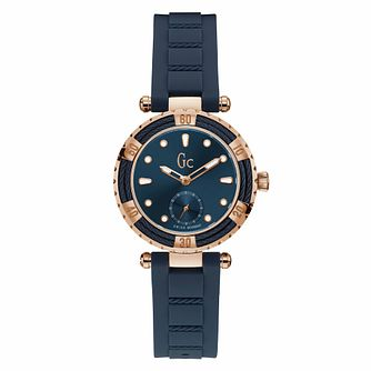 Gc Ladydiver Ladies' Rose Gold Plated Blue Strap Watch - Product number 9783903