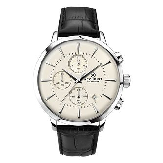 Accurist Men's Chronograph Black Leather Strap Watch - Product number 9784772
