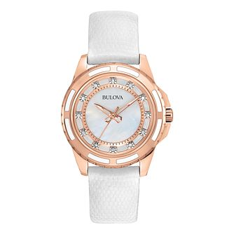 Bulova Ladies' Diamond Rose-Tone White Leather Strap Watch - Product number 9784853