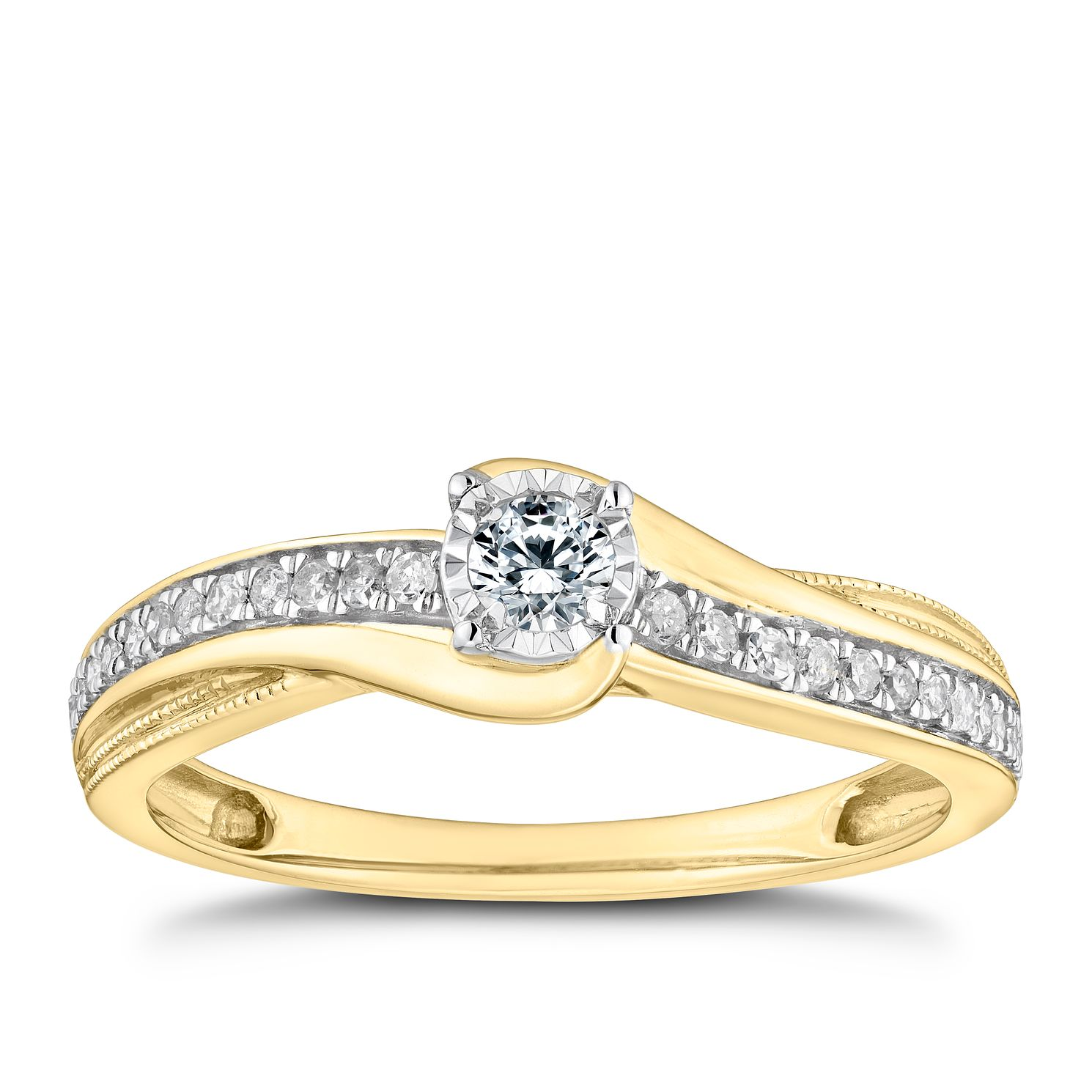 9ct Yellow Gold 1/5ct Diamond Solitaire Twist Ring - Product number 9786929