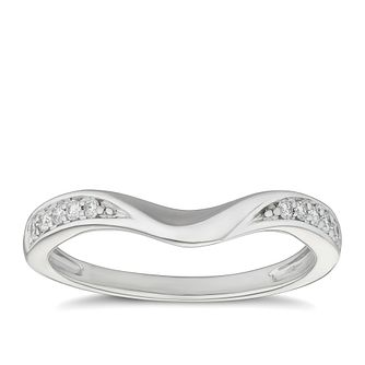 Platinum 0.10ct Diamond Set Shaped Wedding Ring - Product number 9787771