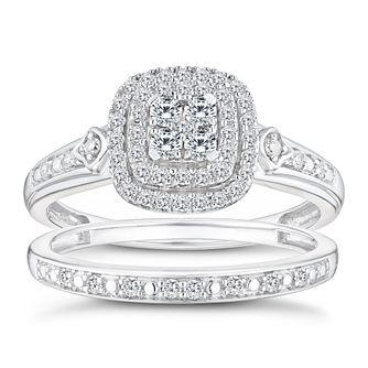 Perfect Fit 9ct White Gold 0.33ct Diamond Cushion Bridal Set - Product number 9788425